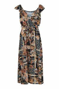 Womens Woven Flutter Sleeve Chain Midaxi Dress - black - 12, Black