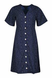 Womens Woven Spot Button Through Midi Dress - navy - 12, Navy