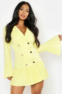 Womens Pleated Frill Hem Blazer Dress - yellow - 16, Yellow