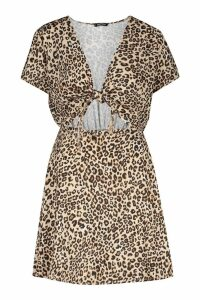 Womens Tie Front Leopard Print Skater Dress - multi - 10, Multi