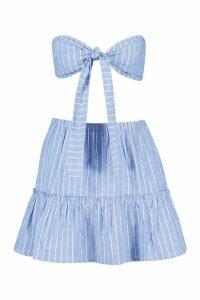 Womens Cotton Stripe Tie Bralet & Tiered Mini Skirt - blue - 14, Blue
