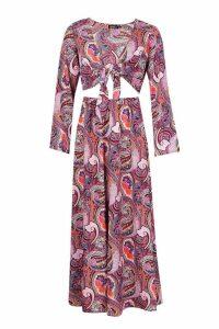Womens Woven Paisley Cut Out Maxi Dress - purple - 8, Purple