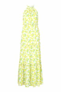 Womens Woven Lemon Ruffle Halter Neck Maxi Dress - white - 14, White