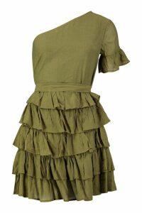 Womens One Shoulder Cheesecloth Ruffle Skirt Skater Dress - green - 10, Green