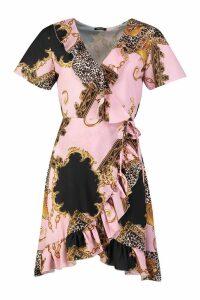 Womens Chain Print Ruffle Wrap Front Tea Dress - Pink - 10, Pink