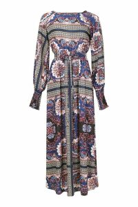 Womens Woven Shirred Printed Maxi Dress - navy - 14, Navy