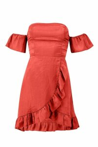 Womens Off The Shoulder Strap Back Ruffle Skater Dress - orange - 8, Orange