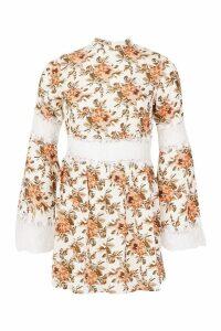 Womens Floral Lace Insert Skater Dress - white - 16, White