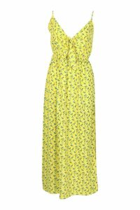 Womens Woven Floral Tie Front Shirred Back Maxi Dress - yellow - 8, Yellow