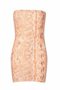 Womens Snake Bandeau Dress - orange - 14, Orange
