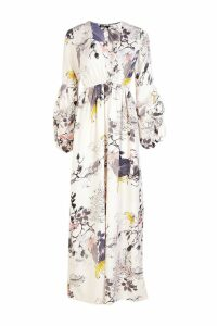 Womens Mimi V Neck Rouched Sleeve Floral Maxi Dress - white - 12, White