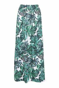 Womens Palm Print Side Split Maxi Skirt - green - 10, Green