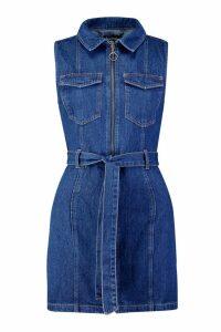 Womens Tie Waist Zip Front Denim Dress - blue - 6, Blue