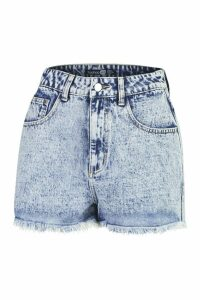 Womens Frayed Hem Acid Wash Denim Short - blue - 8, Blue