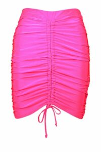 Womens Ruched Front Slinky Mini Skirt - Pink - 10, Pink