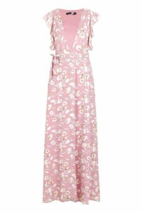 Womens Floral Frill Detail Wrap Maxi Dress - pink - 16, Pink