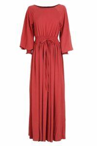 Womens Shirred Waist & Cuff Woven Maxi Dress - 14, Red