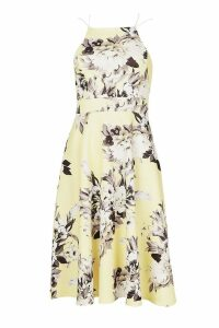 Womens Floral Strappy Midi Skater Dress - yellow - 16, Yellow
