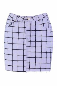 Womens Grid Detail High Waisted Mini Skirt - purple - 12, Purple