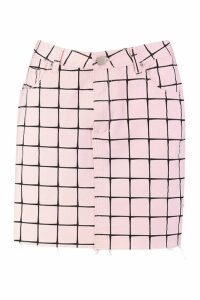 Womens Grid Detail High Waisted Mini Skirt - Pink - 12, Pink
