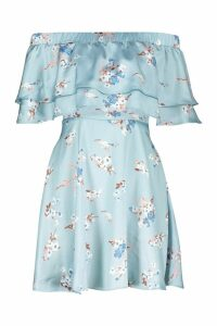 Womens Off The Shoulder Double Frill Skater Dress - blue - 10, Blue