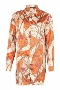 Womens Satin Printed Shirt Dress - orange - 8, Orange