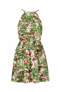 Womens Woven High Neck Tie Back Palm Floral Skater Dress - pink - 10, Pink