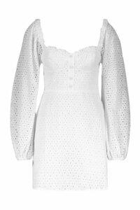 Womens Broderie Anglais Sweetheart Mini Dress - white - 10, White