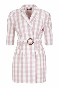 Womens Self Belted Gingham Check Blazer Dress - Pink - 16, Pink