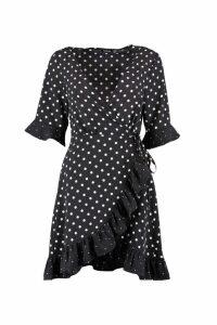 Womens Mixed Polka Dot Wrap Front Tea Dress - black - 14, Black