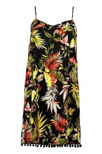 Womens Tia Tropical Print Pom Pom Detail Cami Dress - multi - 14, Multi
