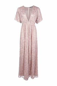 Womens Boutique Sequin Plunge Maxi Dress - pink - 14, Pink