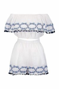 Womens Embroidered Pom Pom Trim Short Co-Ord Set - white - 12, White
