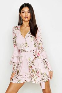Womens Floral Wrap Extreme Ruffle Sleeve Skater Dress - Pink - 16, Pink