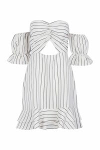 Womens Tonal Stripe Sweetheart Off The Shoulder Tea Dress - beige - 12, Beige