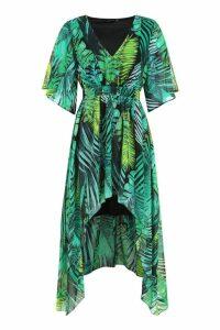Womens Hanky Hem Palm Print Maxi Dress - Green - 14, Green