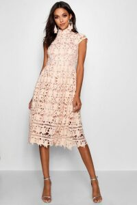 Womens Boutique Lace High Neck Skater Dress - Beige - 14, Beige
