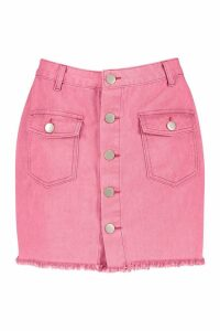 Womens Button Front Washed Denim Skirt - washed pink - 10, Washed Pink
