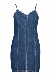 Womens Strappy Zip Front Denim Micro Mini Bodycon Dress - blue - 14, Blue
