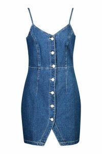 Womens Strappy Button Front Denim Micro Mini Dress - blue - 16, Blue