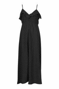 Womens Woven Polka Dot Covered Button Maxi Dress - black - 16, Black