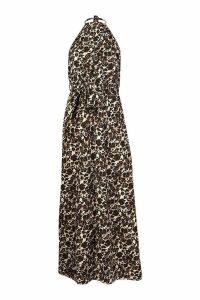 Womens Woven Halter Neck Cut Out Extreme Split Maxi Dress - beige - 12, Beige
