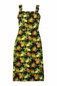Womens Citrus Print Ruffle Strap Midi Skater Dress - black - 12, Black
