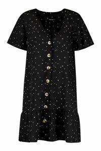 Womens Heart Print Button Smock Dress - black - 14, Black