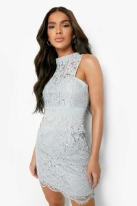 Womens Boutique Lace Racer Neck Bodycon Dress - grey - 14, Grey