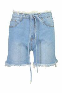 Womens High Waisted Belted Frayed Hem Mom Short - blue - 6, Blue