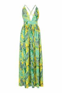 Womens Plunge Front Palm Print Maxi Dress - yellow - 16, Yellow