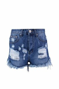 Womens Distressed Denim Short - blue - 14, Blue