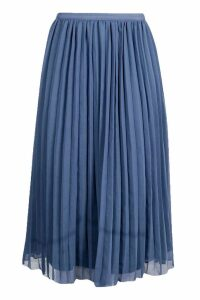 Womens Chiffon Pleated Midi Skirt - Blue - 14, Blue