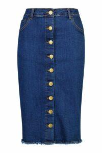Womens Button Front Stretch Midi Denim Skirt - blue - 6, Blue